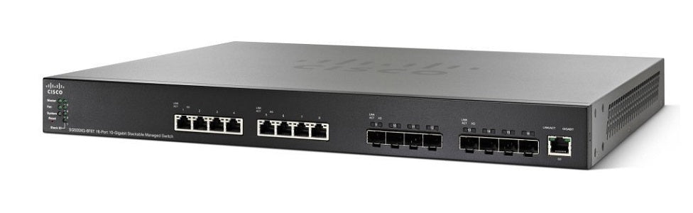 SG550XG-8F8T-K9-NA Cisco SG550X-8F8T Stackable Managed Switch, 8 10Gig Ethernet 10GBase-T and 8 10Gig Ethernet SFP+ Ports (Refurb)