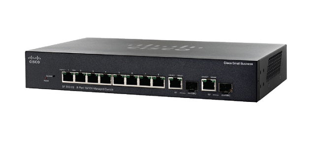 SRW208P-K9-NA Cisco Small Business SF302-08P Managed Switch, 8 Port 10/100 w/Gigabit Uplinks, 62w PoE (Refurb)