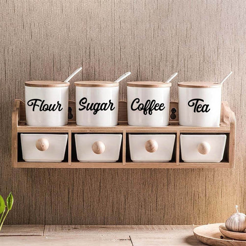 Creative Kitchen Vinyl Stickers Decor For Kitchen Seasoning Box Ceramic Mug Decoration Home Decor Removable waterproof Sticker