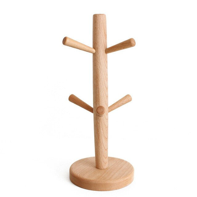 Wooden Coffee Cup Holder Beech Wood Tree Stand Rack 6 Cup Mug Holder Countertop Pantry Stands Mug Shelves Hanger Kitchen Display