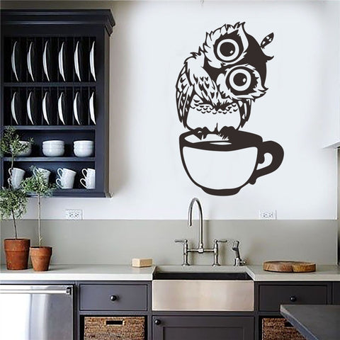 Cute Cartoon Owl on Mug Wall Stickers Coffee Decorative Decal for Kitchen Dining Room Vinyl Stickers for Coffee Bar Home Decor