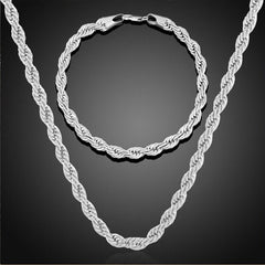 2pcs Jewelry Sets Twisted Link Chain Hip Hop Bracelet Necklace Set Gold Silver Color Choker Men Punk Necklaces Bracelet Set