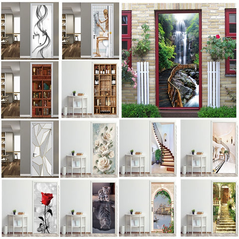 Creative 3D Door Sticker 95x215cm/Custom Size Self Adhesive Wallpaper On the Doors DIY Renovation Waterproof Poster For Bedroom