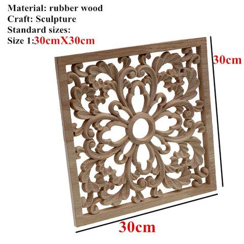 RUNBAZEF Vintage Wood Carved Decal Corner Onlay Applique Frame Furniture Wall Unpainted  Home Cabinet Door Decor Crafts Square