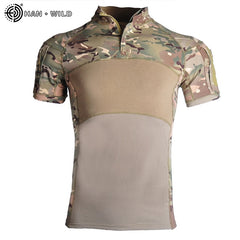Military Army T-Shirt Men short Sleeve Camouflage Tactical Shirt Hunt Combat Multicam Camo short Sleeve T Shirt