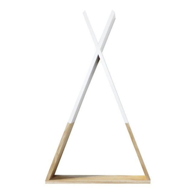 1Pc Living Room Wooden Triangles Storage Holder Rack Decor Wall Mounted Shelf  Bedroom Children Room Crafts Storage Rack