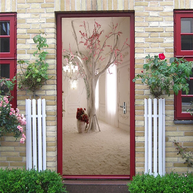 2pcs Set Simple White Door Sticker Home Decor Adhesive Waterproof Wall The Great Usa Store