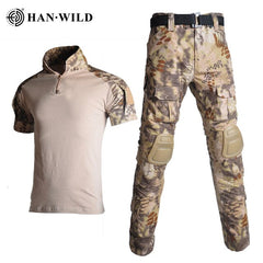 Military Uniform Clothes Suit Tactical Camouflage  Men US Army clothes Military Combat Shirt + Cargo Pants Knee Pads