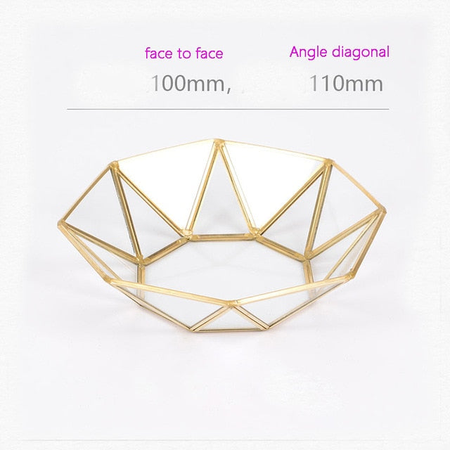 Brass Storage Tray Golden Polygon Glass Snack Plate Makeup Jewelry Plate Home Kitchen Decor
