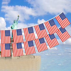 20/38pcs Flags American Flag Bunting Banner Small US Independence Day Flags Rope Set Banners 14*21cm