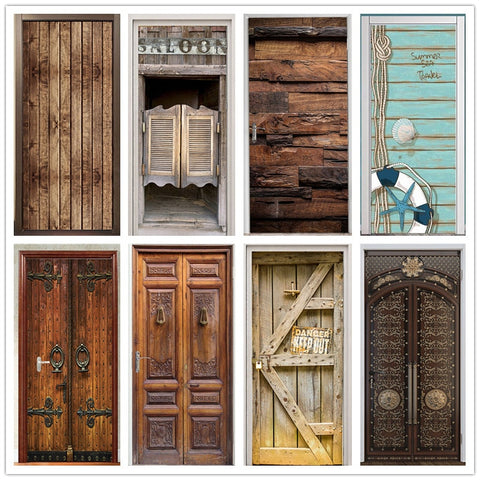 Retro Wooden Door Poster Home Art Decorative Wallpaper For Door Vinyl Waterproof Modern Removable Door Sticker Geometric Murals