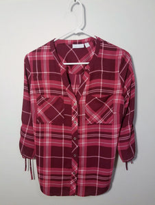 New York & Company Plaid Top - XS