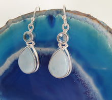 Load image into Gallery viewer, Larimar & Aquamarine Earrings set in 925 Silver
