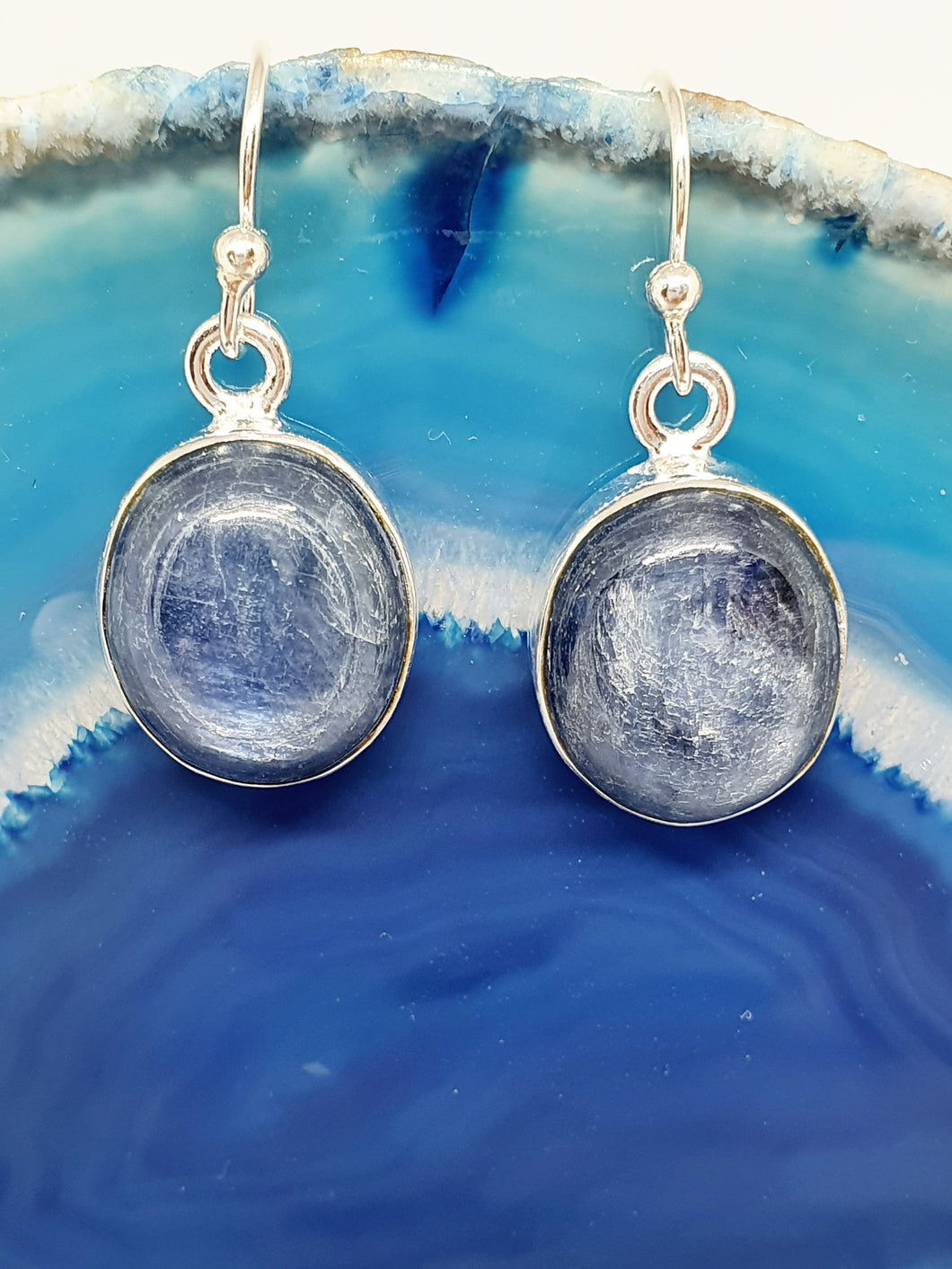 Blue Kyanite Earrings set in 925 Silver