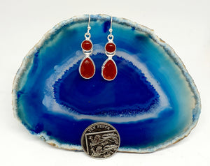 Carnelian Double Drop Earrings set in 925 Silver