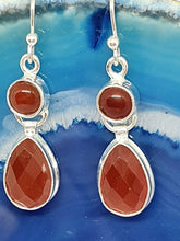 Load image into Gallery viewer, Carnelian Double Drop Earrings set in 925 Silver