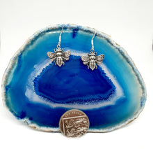 Load image into Gallery viewer, Silver Honey Bee Earrings in 925 Silver