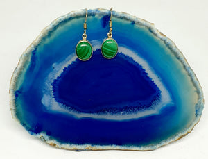 Malachite Earrings set in 925 Silver