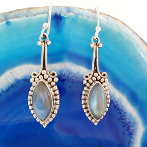 Labradorite Earrings set in 925 Silver