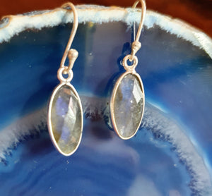 Simple Faceted Earrings set in 925 Silver