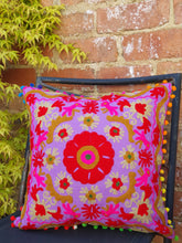 Load image into Gallery viewer, Our Suzani Boho Handmade cushions will bring a splash of colour to any area of your home or office. www.karmaripon.co.uk