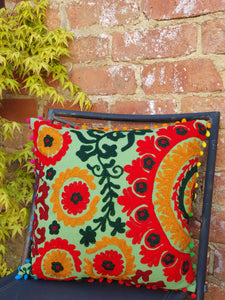 Our Suzani Boho Handmade cushions will bring a splash of colour to any area of your home or office. www.karmaripon.co.uk
