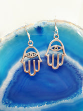 Load image into Gallery viewer, Small Silver Hamsa Earrings in 925 Silver