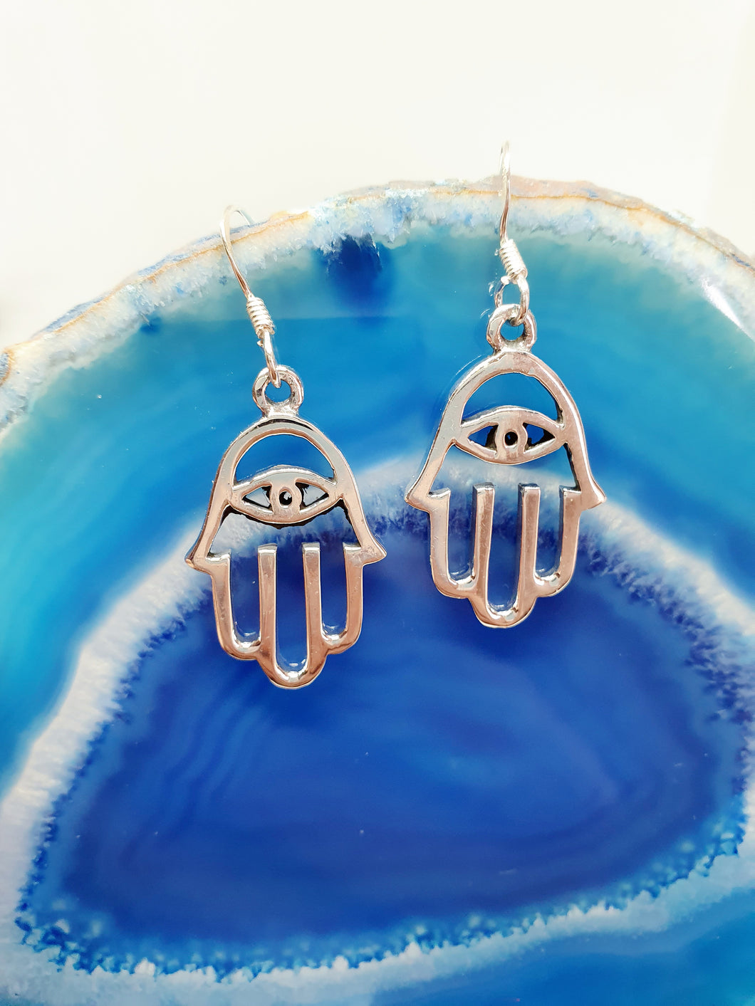 Small Silver Hamsa Earrings in 925 Silver