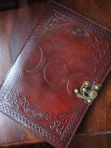 Refillable Leather Triple Moon Journal with Extra Refill