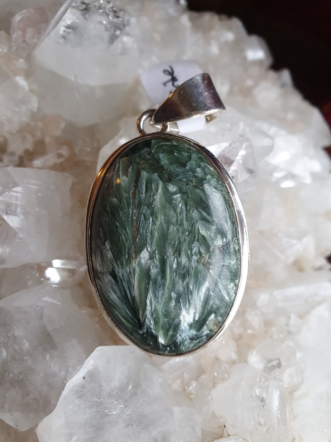 Seraphinite Pendant set in 925 Silver