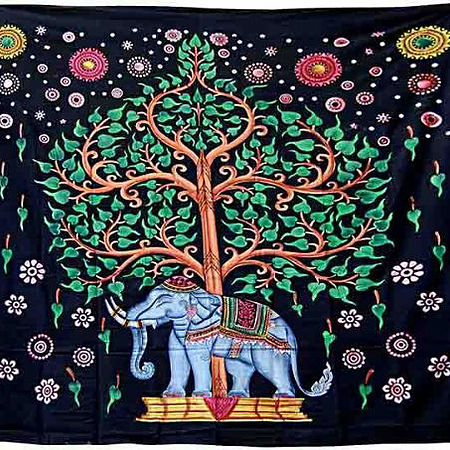 Elephant Tree of Life Double Bedspread