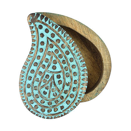 Paisley Tear Drop Mango Wood Box