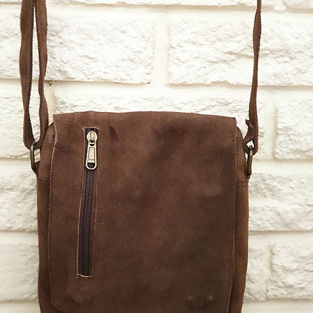 Hand Made Suede Leather Bag, Brown