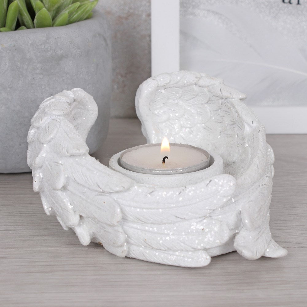 Glittery Angel wing Tealight Holder