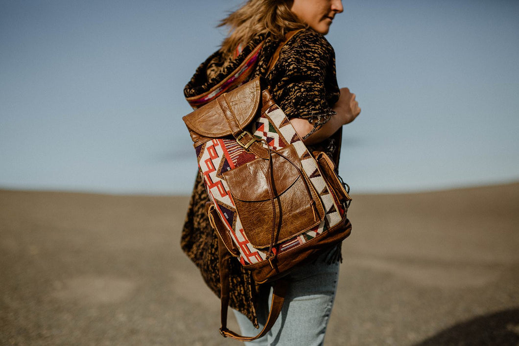 Hand Made Rustic Tan Leather Kilim Backpack