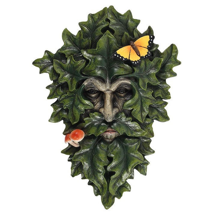 Leafy Green Man Wall Plaque with Butterfly