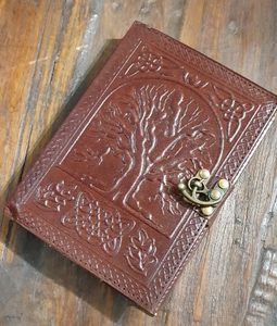 Refillable Tree of Life Leather Journal with Extra Refill