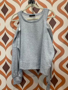 Heather Grey Cold Shoulder Sweatshirt
