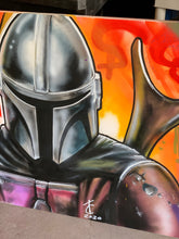 "Load image into Gallery viewer, 36"" x 27"" LIMITED Mandalorian Stretched Canvas Print"