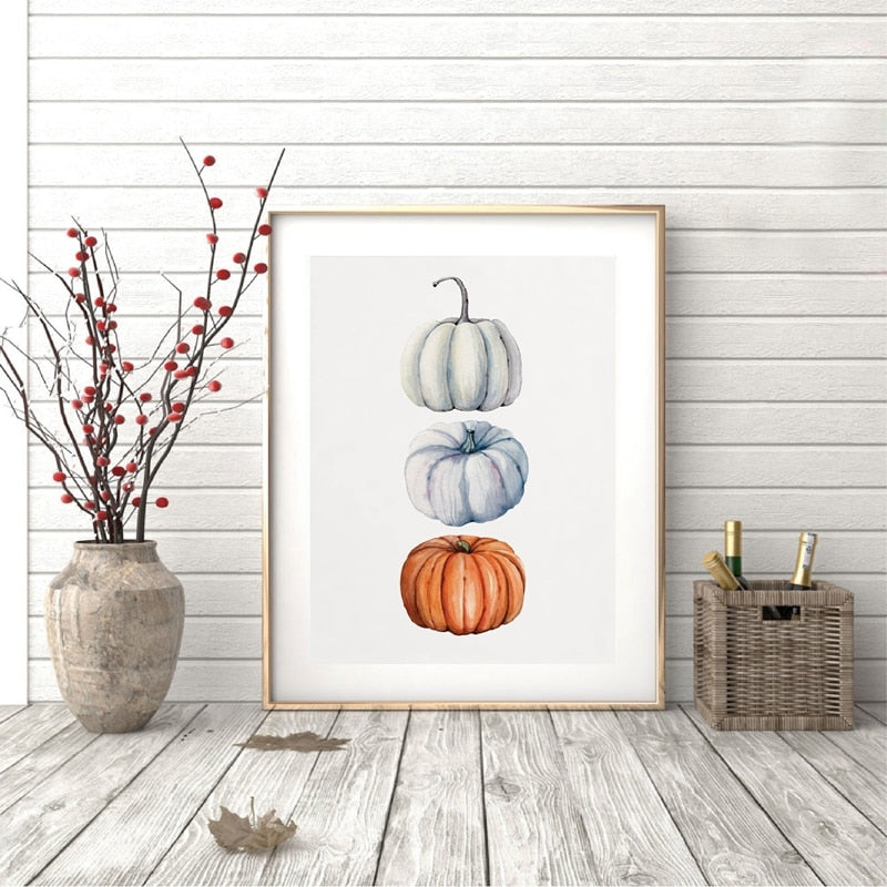 Watercolour Pumpkin Canvas Print