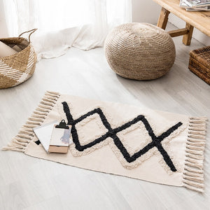 Xs and Os Fringe Area Rug