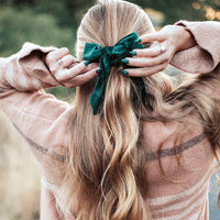 Velvet Hair Bow Scrunchie