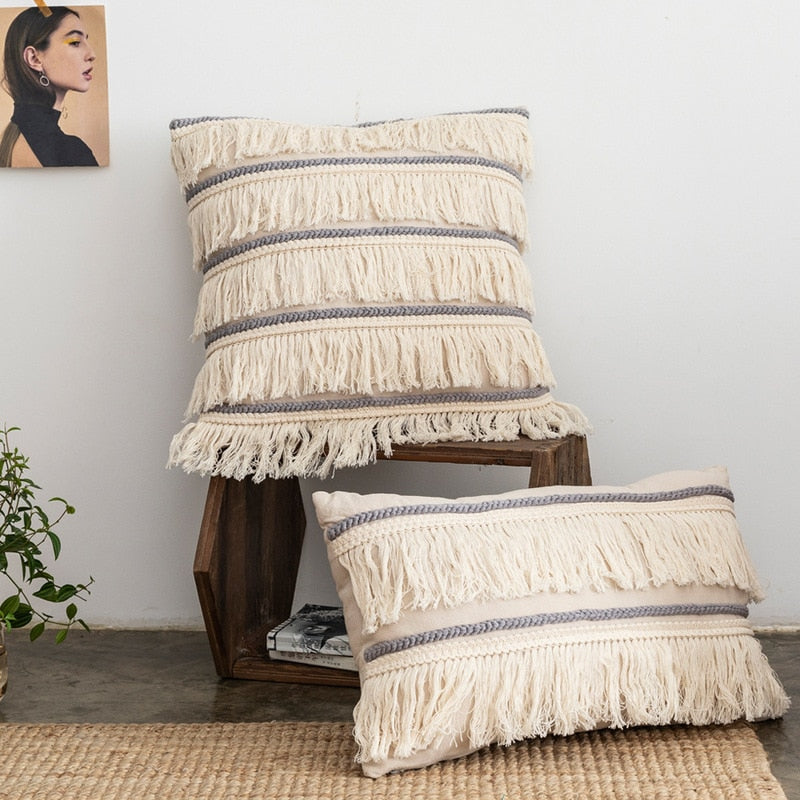 Boho Fringe Cushion Cover
