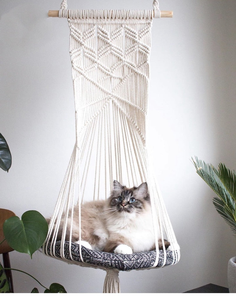 Macrame Hanging Pet Bed