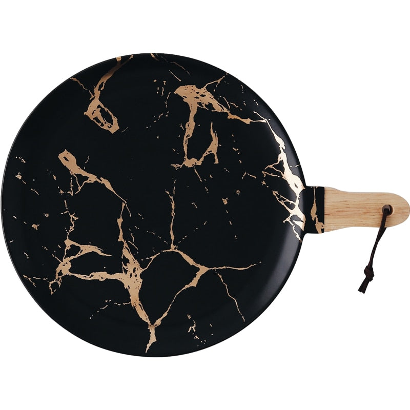Black + Gold Marble Serving Tray