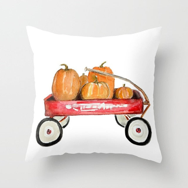 Pumpkin Wagon Cushion Cover
