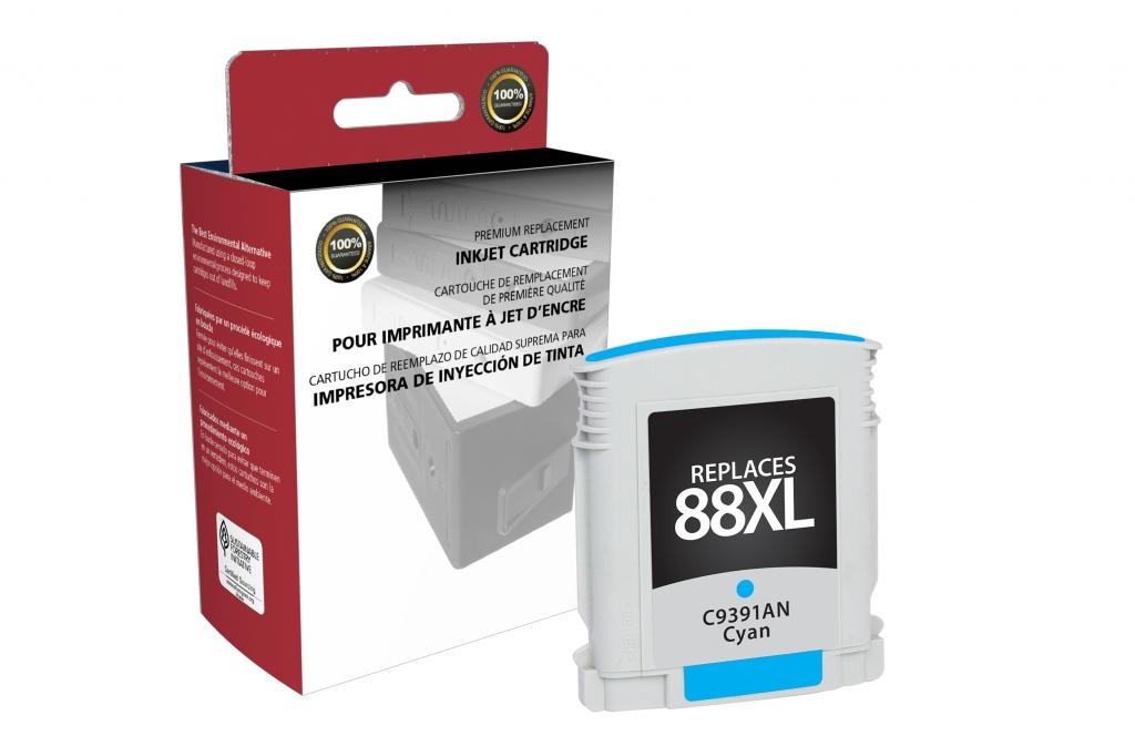 High Yield Cyan Ink Cartridge for HP C9391AN (HP 88XL)