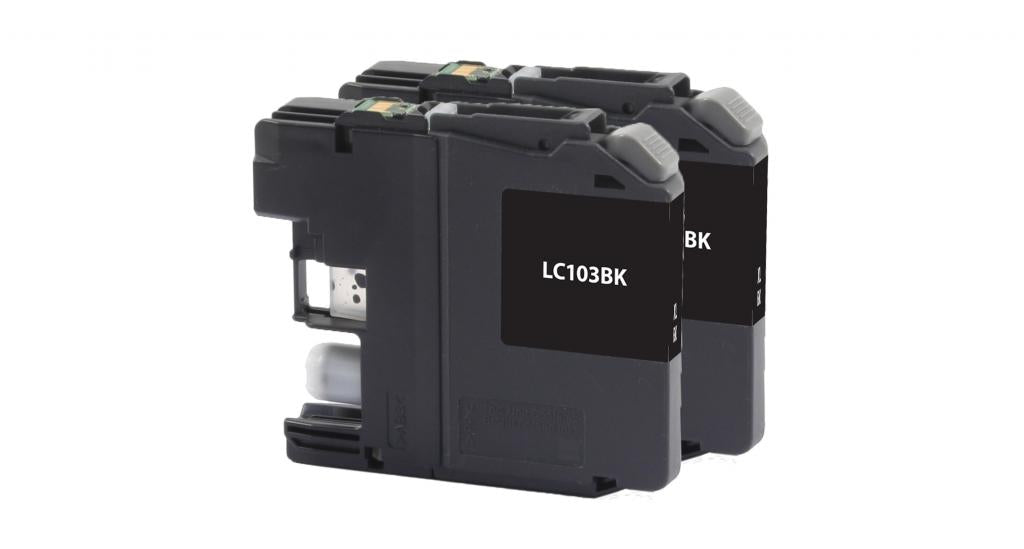 High Yield Black Ink Cartridges for Brother LC-103XL 2-Pack