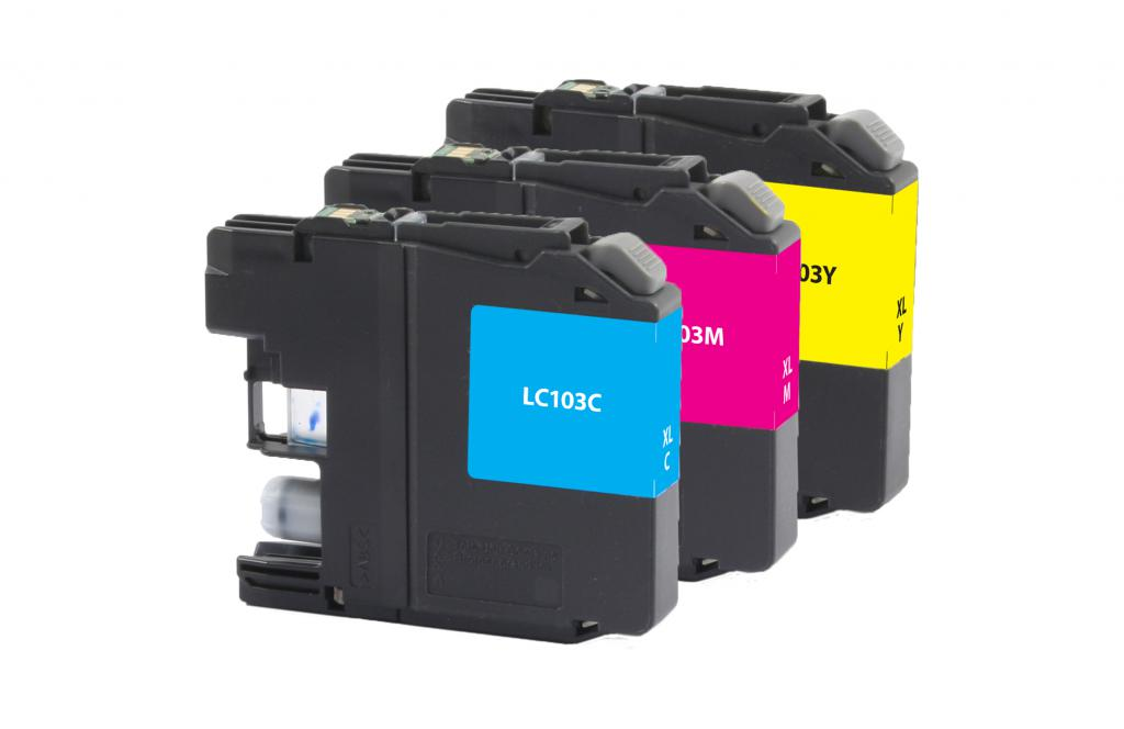 High Yield Cyan, Magenta, Yellow Ink Cartridges for Brother LC-103XL 3-Pack