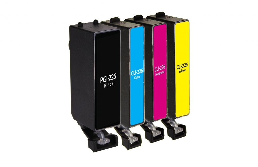 Black, Cyan, Magenta, Yellow Ink Cartridges for Canon PGI-225/CLI-226